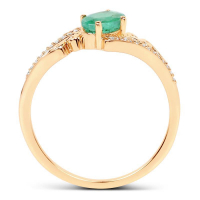 0.52 Carat Genuine Zambian Emerald and White Diamond 14K Yellow Gold Ring (size 7)