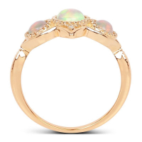 0.62 Carat Genuine Ethiopian Opal and White Diamond 14K Yellow Gold Ring (size 7)