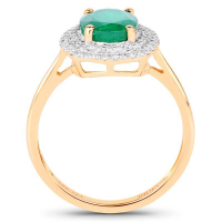 1.97 Carat Genuine Zambian Emerald and White Diamond 14K Yellow Gold Ring (size 7)