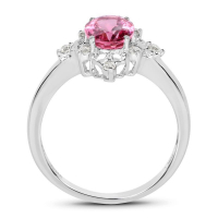 1.28 Carat Genuine Pink Tourmaline and White Diamond 10K White Gold Ring (size 6)