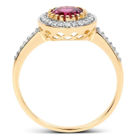 1.29 Carat Genuine Pink Tourmaline & White Diamond 10K Yellow Gold Ring (size 8)
