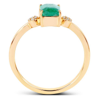 0.97 Carat Genuine Zambian Emerald and White Diamond 14K Yellow Gold Ring (size 7)