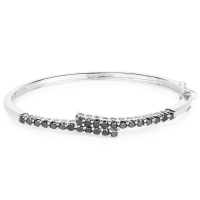 2.52 Carat Genuine Black Diamond .925 Sterling Silver Bangle at PristineAuction.com