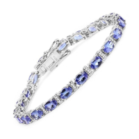 9.43 Carat Genuine Tanzanite and White Diamond 14K White Gold Bracelet
