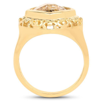 14K Yellow Gold Plated 3.86 Carat Genuine Golden Rutile .925 Sterling Silver Ring (size 7)