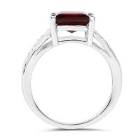 2.99 Carat Genuine Garnet & White Topaz .925 Sterling Silver Ring (size 8)