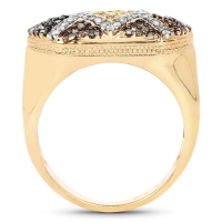 14K Yellow Gold Plated 0.61 Carat Genuine Multi Diamond .925 Sterling Silver Ring (size 9)