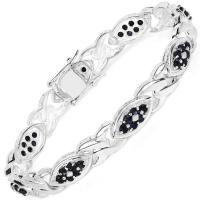 3.53 Carat Genuine Blue Sapphire .925 Sterling Silver Bracelet