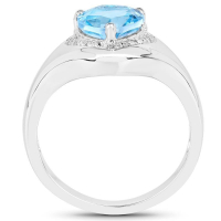 2.23 Carat Genuine Swiss Blue Topaz & White Topaz .925 Sterling Silver Ring (size 8)