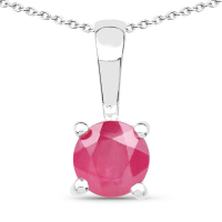 1.68 Carat Emerald, Glass Filled Ruby and Glass Filled Sapphire .925 Sterling Silver Pendant