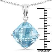 11.10 Carat Genuine Blue Topaz .925 Sterling Silver Pendant at PristineAuction.com