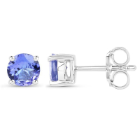 0.94 Carat Genuine Tanzanite .925 Sterling Silver Earrings