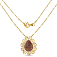14K Yellow Gold Plated 5.14 Carat Genuine Red Droozi and Citrine .925 Sterling Silver Pendant