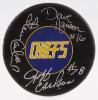 "Jeff Carlson, Steve Carlson & David Hanson Signed ""Slap Shot"" Charlestown Chiefs Logo Hockey Puck (Schwartz COA)"