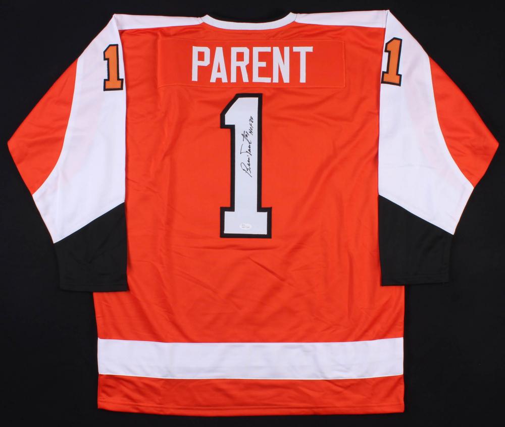 Bernie Parent Signed Philadelphia Flyers Jersey Inscribed