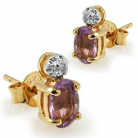 3.18 CT Amethyst & Diamond Elegant Earrings