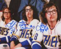 "Jeff Carlson, Steve Carlson & David Hanson Signed ""Slap Shot"" 8x10 Photo (Schwartz COA)"