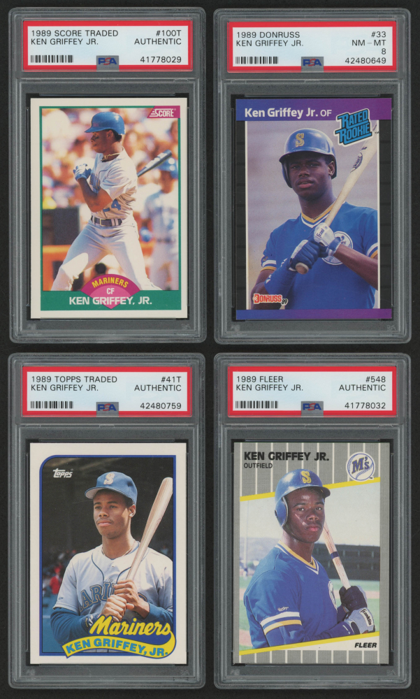 10b52124cf Lot of (4) PSA Graded Ken Griffey Jr. Baseball Cards With 1989 Donruss #33  RR RC (PSA 8), 1989 Score Rookie / Traded #100T RC (PSA Authentic), ...