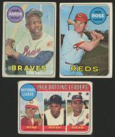 Lot of (3) 1969 Topps Baseball Cards with #100 Hank Aaron, #120 Pete Rose, #2 NL Batting Leaders Pete Rose / Matty Alou / Felipe Alou