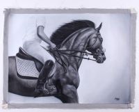 "Oscar Alikos Signed ""The Black Stallion"" 26.5x35.5 Original Oil Painting on Canvas (PA LOA) at PristineAuction.com"