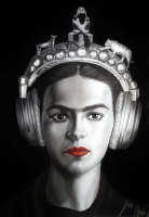"Oscar Alikos Signed ""Frida Through Time"" 27x35 Original Oil Painting on Canvas (PA LOA) at PristineAuction.com"