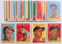 Lot of (43) 1958 Topps Baseball Cards with #480 Eddie Mathews All-Star, #50A Billy Pierce, #23A Bill Tuttle, & #98A Billy Hunter