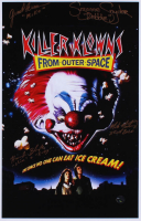 """""""Killer Klowns from Outer Space"""" 12x18 Movie Poster Photo Signed by Grant Cramer, Suzanne Snyder, Mike Martinez & Harrod Blank with Inscriptions (Legends COA)"""