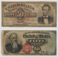Lot of (2) 1863 United States 50¢ Fifty Cents Fractional Bank Note Bills with Lincoln & Stanton