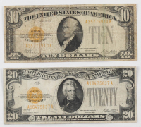 Lot of (2) 1928 Gold Certificates with (1) $20 Twenty Dollars & (1) $10 Ten Dollars