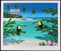 "Dan Mackin - ""Pink House in Paradise"" Signed Limited Edition 20x24 Fine Art Giclee #/275 (Mackin COA & PA LOA)"