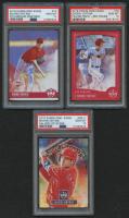 Lot of (3) PSA Graded 10 Shohei Ohtani Baseball Cards with 2018 Diamond Kings Gallery of Stars #11, 2018 Diamond Kings Red Frame #76, 2018 Diamond Kings #73 RC at PristineAuction.com