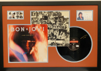 Bon Jovi Band-Signed 22x33 Custom Framed Display Signed by (5) with Jon Bon Jovi, Tico Torres, Richie Sambora, Alec John Such & David Bryan (JSA COA)