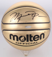Michael Jordan Signed Gold Trophy Basketball (UDA COA)
