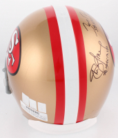 Joe Montana, Jerry Rice & Steve Young Signed San Francisco 49ers Full-Size Helmet with Inscriptions (Montana, Rice & Young Hologram) at PristineAuction.com