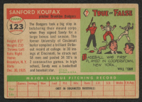 1955 Topps #123 Sandy Koufax RC at PristineAuction.com