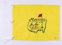 "Jack Nicklaus & Gary Player Signed Masters Pin Flag Inscribed ""61 74 78"" & ""63, 65, 65, 72, 75, 86"" (Beckett LOA)"