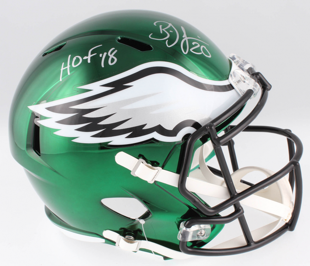 55603e76aa4 Brian Dawkins Signed Philadelphia Eagles Full-Size Chrome Speed Helmet  Inscribed