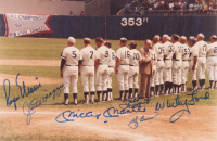 Yankees 8x12 Photo Team-Signed by (6) with Mickey Mantle, Roger Maris, Joe DiMaggio, Yogi Berra, Whitey Ford, & Phil Rizzuto (JSA ALOA)