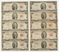 Lot of (10) 1953-1963 $2 Two-Dollar Red Seal United States Legal Tender Notes
