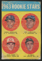 1963 Topps #537 Rookie Stars / Pedro Gonzalez RC / Ken McMullen RC / Al Weis RC / Pete Rose RC (Trimmed)