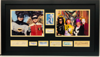 1960's Batman Television Cast 17x29 Custom Framed Cut Display Signed by (7) with Burt Ward, Adam West, Lee Meriwether, Cesar Romero, Eli Wallach, Frank Gorshin & Burgess Meredith (JSA COA)