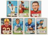 Lot of (7) 1954 Bowman Football Cards with #7 Kyle Rote, #113 Charley Conerly, #61 Jim Finks, #116 George Connor, #100 Jack Christiansen, #29 Les Bingaman RC, #39 Charlie Justice