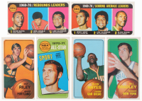 Lot of (6) 1970-71 Topps Basketball Cards with #2 Jerry West / Lew Alcindor / Elvin Hayes, #13 Pat Riley RC, #107 Jerry West All-Star, #70 Elvin Hayes
