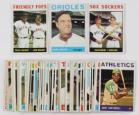 Lot of (50) 1964 Topps Basbeall Cards with #178 Hank Bauer, #41 Friendly Foes / Willie McCovey / Leon Wagner, #182 Sox Sockers / Carl Yastrzemski / Chuck Schilling