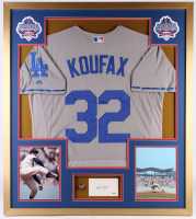 Sandy Koufax Signed Los Angeles Dodgers 32x36 Custom Framed Cut with Championship Ring (PSA LOA)
