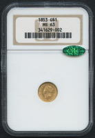 1853 $1 One Dollar Liberty Head Gold Coin (NGC MS 63) (CAC)