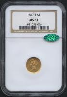 1857 $1 Indian Princess Gold Coin (NGC MS 61) (CAC)