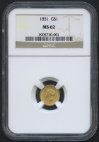 1851 $1 One Dollar Liberty Head Gold Coin (NGC MS 62)