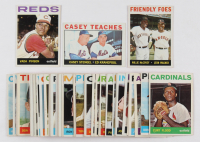 Lot of (50) 1964 Topps Basbeall Cards with #80 Vada Pinson, #41 Friendly Foes / Willie McCovey / Leon Wagner, #393 Casey Teaches / Casey Stengel MG / Ed Kranepool