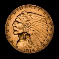 1914-D $2.50 Indian Head Quarter Eagle Gold Coin